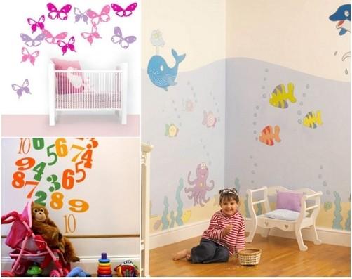 Рисунок на стенах в маленькой комнате